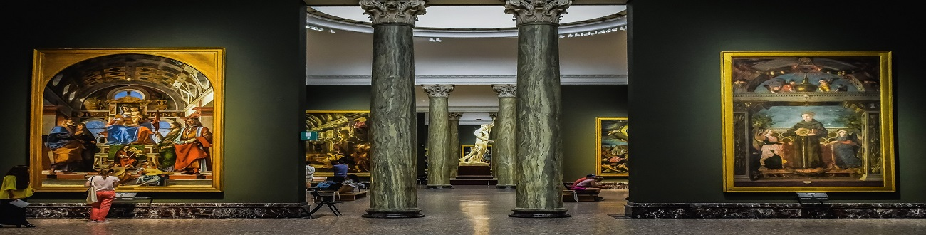 Brera gallery in Milan, Lombardia. Milan is a global capital of fashion and design, a financial hub also known for its high-end restaurants and shops. The Gothic cathedral and Leonardo da Vinci's mural The Last Supper, testify to centuries of art and culture